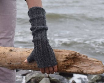 long fingerless gloves, wrist warmers