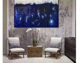 Abstract XXL sky ocean Panorama blue white Original from Gallery art painting  heavy texture