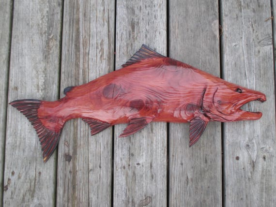 Salmon chainsaw carving wall hanging rustic cabin