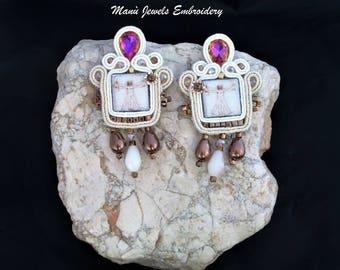 soutache earrings beige, soutache, soutache jewelry, handmade earrings, ethno earrings, boho earrings, vitruvian man, soutache embroidery