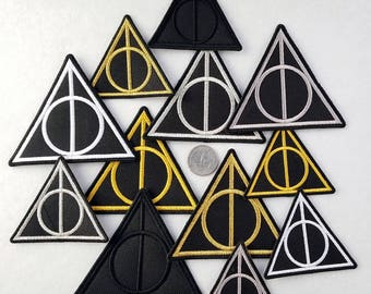 Embroidered Deathly Hallows iron-on patch (can be sewn on) inspired by Harry Potter. Sooooo many variations.
