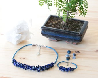 Set necklace and bracelet in Lapis lazuli jewelry well and blue Kumihimo braiding be - Aiko Creation