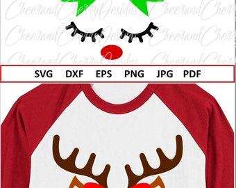 Reindeer Face Svg for Cricut Christmas SVG file for Silhouette Cute Reindeer SVG for girl Reindeer with Bow SVG Shirt Vinyl Deer Svg Dxf Png