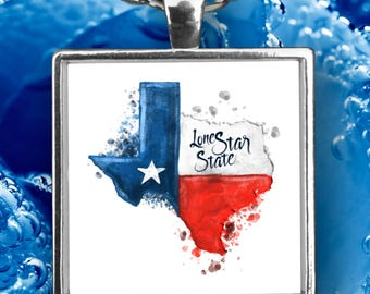 """TEXAS Necklace Lone Star State Flag Watercolor Jewelry Texas Strong  Stylish Lovely Native Texan Pride on  22"""" Silver Necklace With Charm!"""