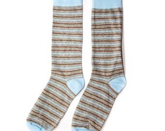 Groomsmen Blue and Brown Striped Socks/Wedding Day Socks/Groomsmen Gifts/Groomsmen Proposal Idea/Colorful Dress Socks