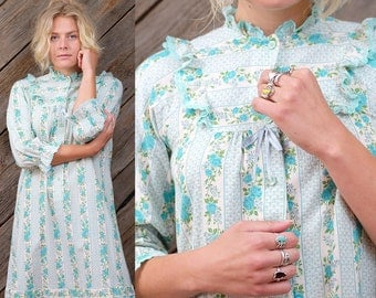 Light turquoise bib collar dress / Japanese Vintage / Gunne Sax Style / Prairie / Vintage wedding / Bridal / Boho / Kawaii / Maxi / Size M-L