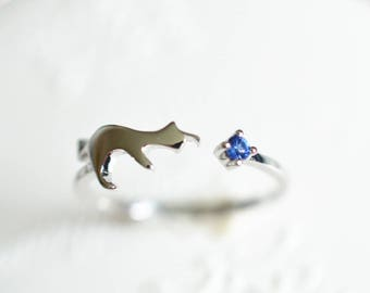 Cat Engagement Ring Blue Sapphire Engagement Ring Cat Wedding Ring White Gold Cat Ring 14k Gold 18k Gold Cat Ring Blue Sapphire Ring
