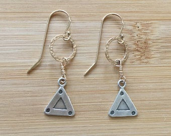14K Gold Filled and Sterling Silver Earrings, Mixed Metal Dangle Earrings, Triangle Earrings, Geometric Earrings, Boho Style