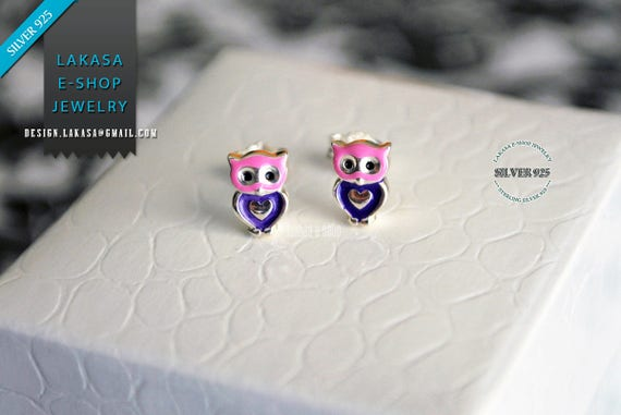 Heart Owl Enamel Jewelry Stud Earrings Sterling Silver Girl School Kids Moda Color Purple Pink Gift idea Woman Girlfriend Birthday Party Fun