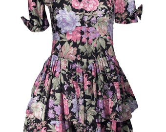 Vintage Dark Floral Peplum Scalloped Neckline Dress