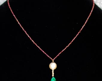 Rhodolite Garnet Strand with Tahitian Pearl and Emerald with 14k Gold Necklace with Matching Earrings.