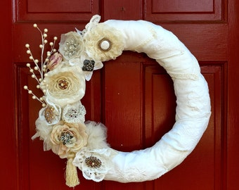 Vintage brooch and hankie wreath bridesmaid gift idea vintage wedding wreath bridal shower wreath. FREE SHIPPING