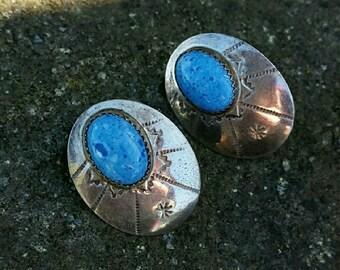 Vintage Sterling Silver Denim Lapis Earrings