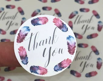 Thank You Stickers | Watercolor Stickers | Feather Stickers | Shipping Stickers | Maker Stickers | Small Business Stickers