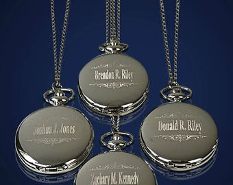 4 Personalized Pocket Watches - 4 Bride & Bridesmaid gifts - Groomsmen gift - Matron of Honor - Maid of Honor gifts - Wedding set of 4 gifts