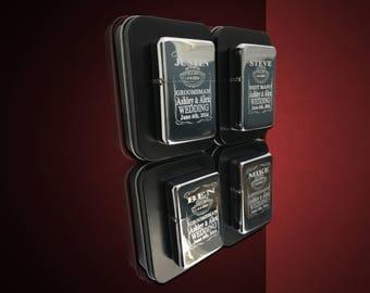 4 Engraved lighters - Custom engraved refillable lighter in box - Personalized Groomsmen gift - Laser engraved custom wedding gift set