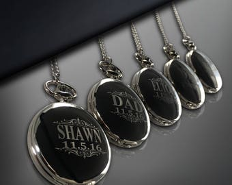 5 Personalized Pocket Watches - Groom & Bride gift - Groomsmen gifts - Wedding gift set - Best Man - Man of Honor gift - Personalized gifts