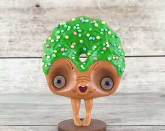 Cute green donut figurine valentines day decorations art doll fantasy creature miniature ooak toy figure decor polymer clay collectible