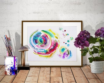 Original abstract watercolor painting in Green-Pink-Yellow, Colorful watercolor art painting Modern abstract painting Original fine art