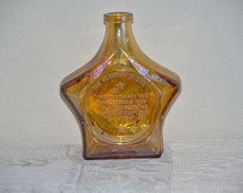 20% off Vintage Jean Harlow Amber Iridescent Star Decanter By Wheaton Glass // Carnival Bottle
