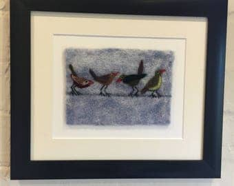 Needle felted birds on a wire. Garden bird art. Textile Picture. Felted birds.
