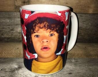 Stranger Things Dustin Mug Upside Down supernatural TV gifts boyfriend Christmas secret santa Demogorgon demodog Gaten Matarazzo 80s Hawkins