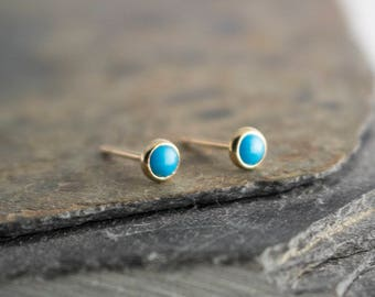 Turquoise Stone Gold Studs, Dainty Earrings, Minimalist Earrings, Stud Earrings, Gold Handmade Earrings, Tiny Earrings, 3mm