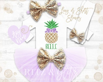 Pineabble Birthday Outfit | Summer Birthday Outfit Girl | Summer Birthday Outfit Girl | Pineapple Birthday Shirt | Luau Birthday Outfit