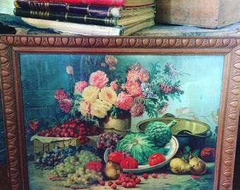 Chromolithography in the 19th century. Still life. Fruits, vegetables and flowers. Kitchen decoration. antique french