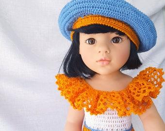 """Crochet dress and hat for Gotz dolls - For 18"""" American Girl Dolls"""