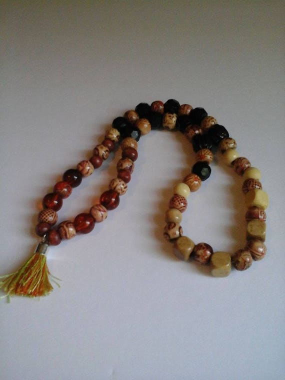 Stretchy Wood and Mixed Bead Necklace, Wood Bead Tassel Necklace, Stretch Wood Bead Tassel Necklace, Tassel Jewelry, Beaded Accessory