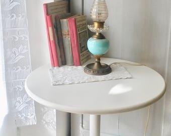 Antique Table Lamp, Blue and Gold, Lantern, Early Electrical Light, Oil  Lamp, early 20th century
