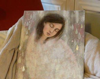 """Peinture """"Cocon"""" fille , femme , cocon , cocooning , douceur , mots , protégé , apaisé , gouttes , argent , 40x50 cm"""