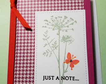 """Handmade """"Just A Note Card""""- Any Occasion Card- Dandelion-Butterfly Card- Just Because Card- Friendship Card- Stationary Note Card"""