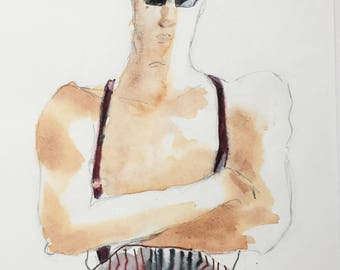 Mixed Media Figurative Art - Modern Male Art - Contemporary Male Painting - Watercolour Figurative Art