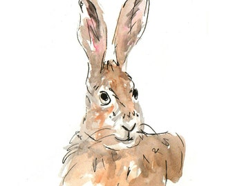 Original watercolour hare illustration - British wildlife, watercolour, nursery, UK artist DIGITAL DOWNLOAD