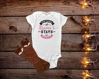 What Happens at Nana's, Nana Onesies®, Funny Baby Onesies®, Pregnancy Annoucement, Reveal, Baby Girl Clothes, Nana Shirt, Baby Shower Gift