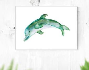 Dolphin Wall Art, Printable Digital Download, Wall Art, Minimalist, Ocean Art, Sea Art, Home Decor, Green Art, Blue Art