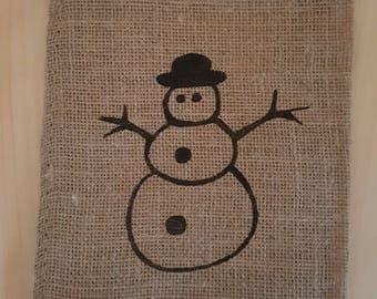 Burlap Bag, Snowman Burlap Holiday Bags, Burlap Gift Bags, Gift Bags, Goodie Bags, Party Bags, Christmas Bags, Christmas Decor