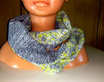 Snood/scarf child duo colors gray and yellow and grey flowers