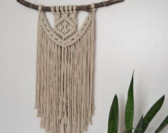 Beige Cotton Macrame Wall Hanging