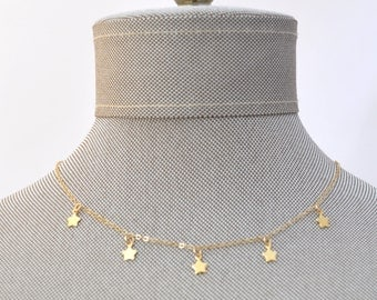 Gold Mini Charm Star Multi Tags Dangle Choker Necklace // Constellation // Gold Filled Dainty Boho Layering Necklace Minimalist