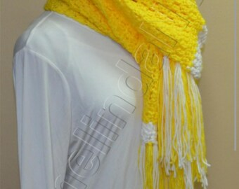 Extral Long Crochet Scarf, in Yellow and White.
