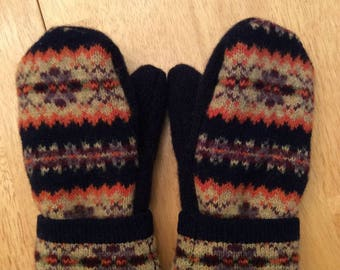 Navy Patterened Upcycled Wool Mittens