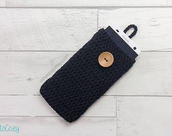Mobile Phone Case, iPhone Cover, Handmade Crochet Black Custom Phone Case Cover, Vegan Pouch