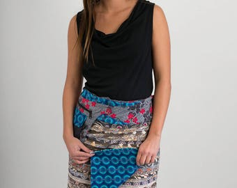 Reversible Cotton Skirt Grey Patch Blue Print Detachable Pocket Medium Length