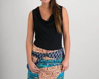 Reversible Cotton Skirt Blue Patch Red Block Print Detachable Pocket Medium Length