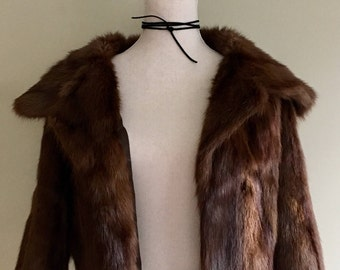 Glossy Muskrat Fur Jacket Coat Vintage 50s Gorgeous Mahogany Brown Women's Ladies Small S