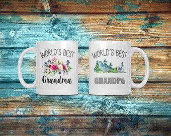 Grandma and Grandpa mug set, worlds best, coffee mug, coffee cup, grandparents mug, pregnancy announcement, mug gift set, custom mug set mug