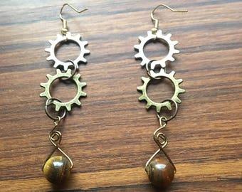 Steampunk Tigers Eye Zylpha Earrings, Tigers Eye Earrings, Unique Earrings, Gifts for Her, Gear Earrings, OOAK Steampunk Jewelry, Tigers Eye